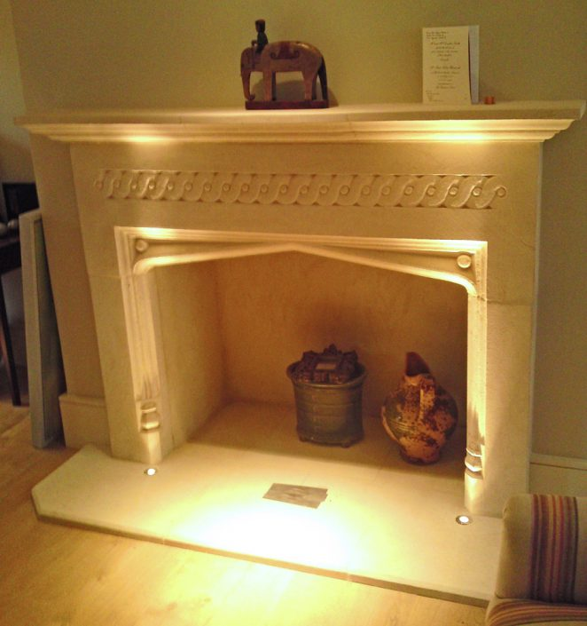 Bathstone Fireplace with Guilloche Frieze