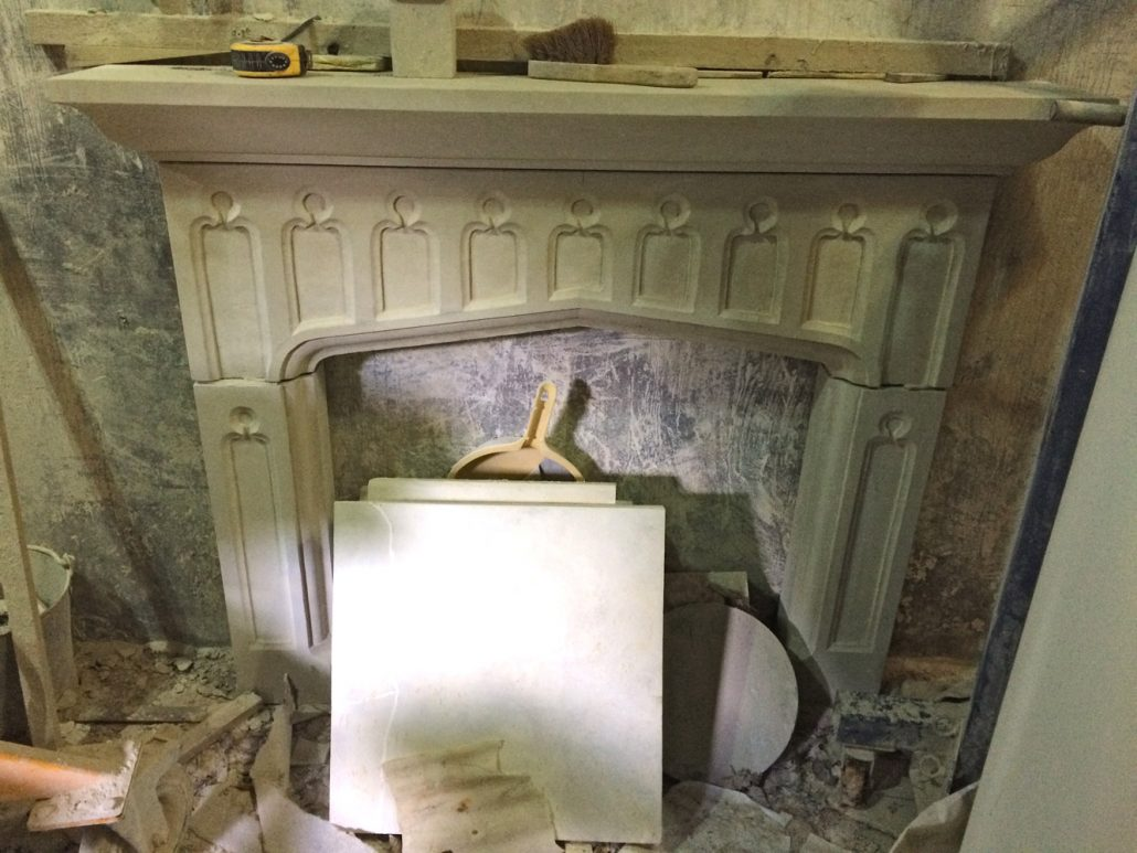 Chicksgrove Fireplace with blind tracery panels