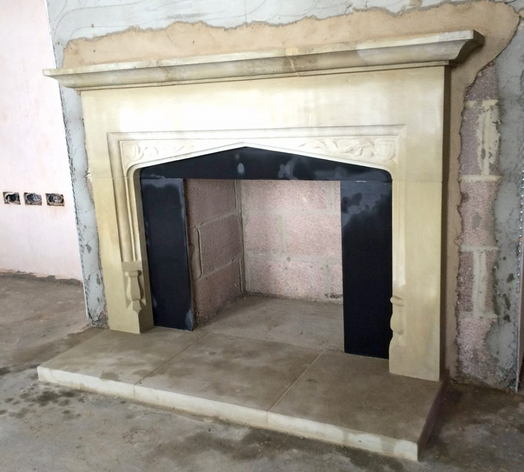 Chicksgrove Fireplace with spandrel carving from Old Winchester Castle