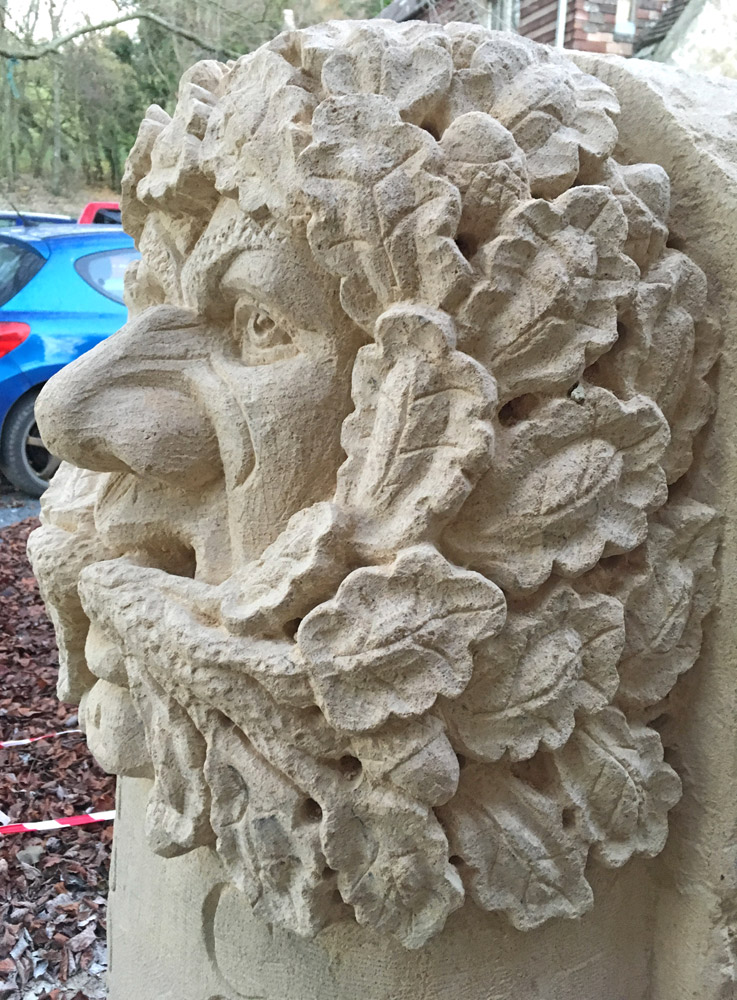 Close up of Bathstone Greenman Carving
