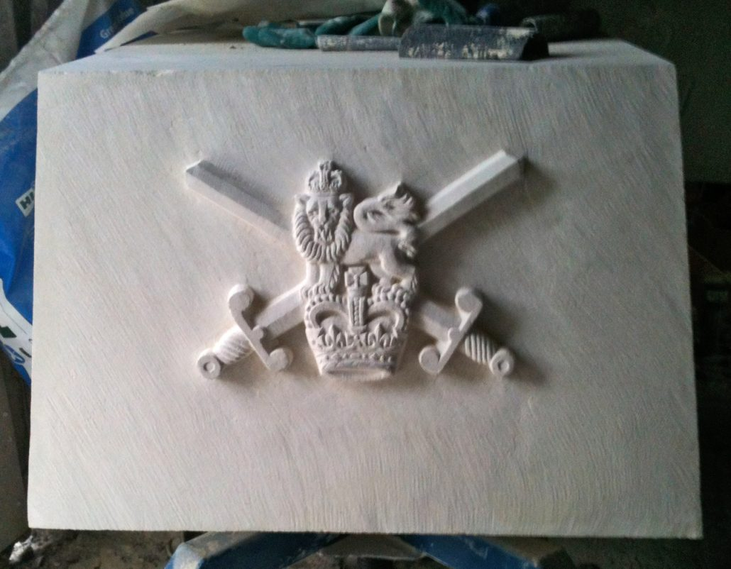 Detail from Portland Stone Rifles Memorial