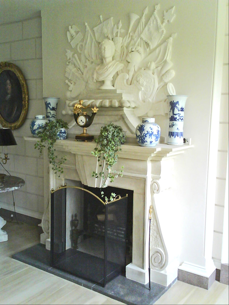 Large Baroque Chicksgrove Stone Fire Place