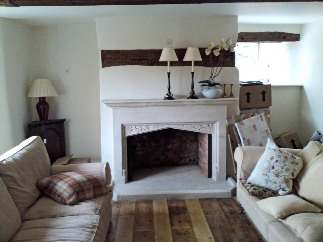 Large Chicksgrove stone Fireplace with Thisles and Roses in Spandrel