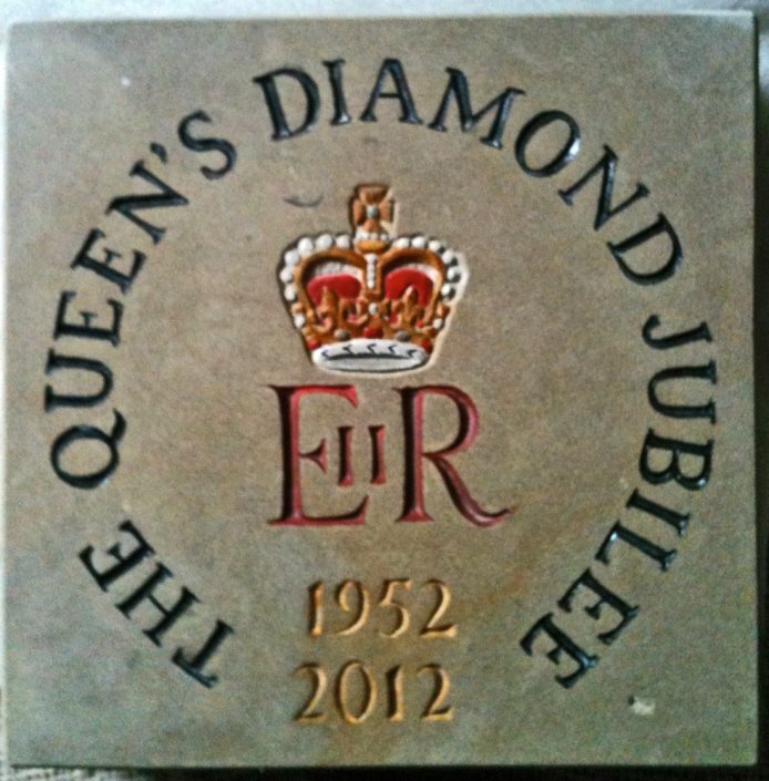 Queens Jubilee stone with coloured painting