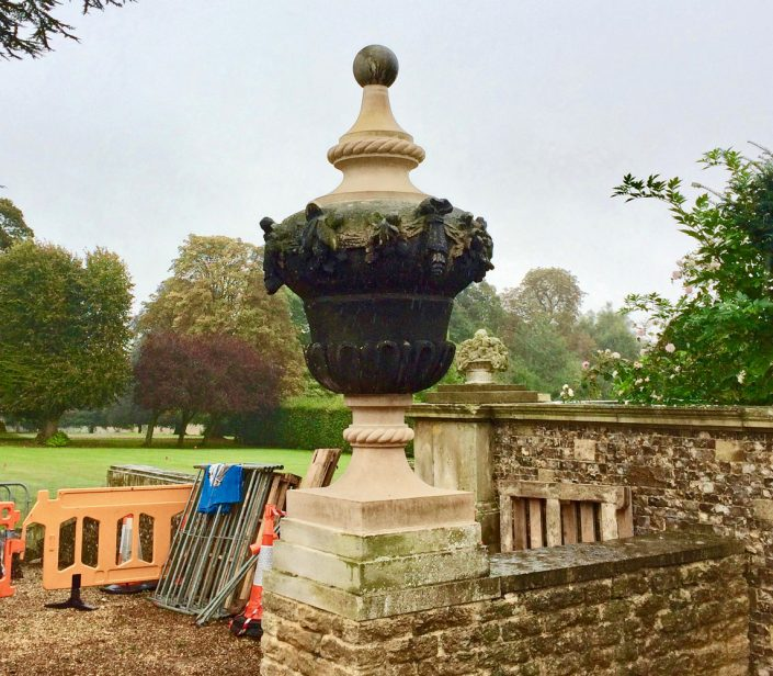 Replacement and repair of large Birchover Stone urn