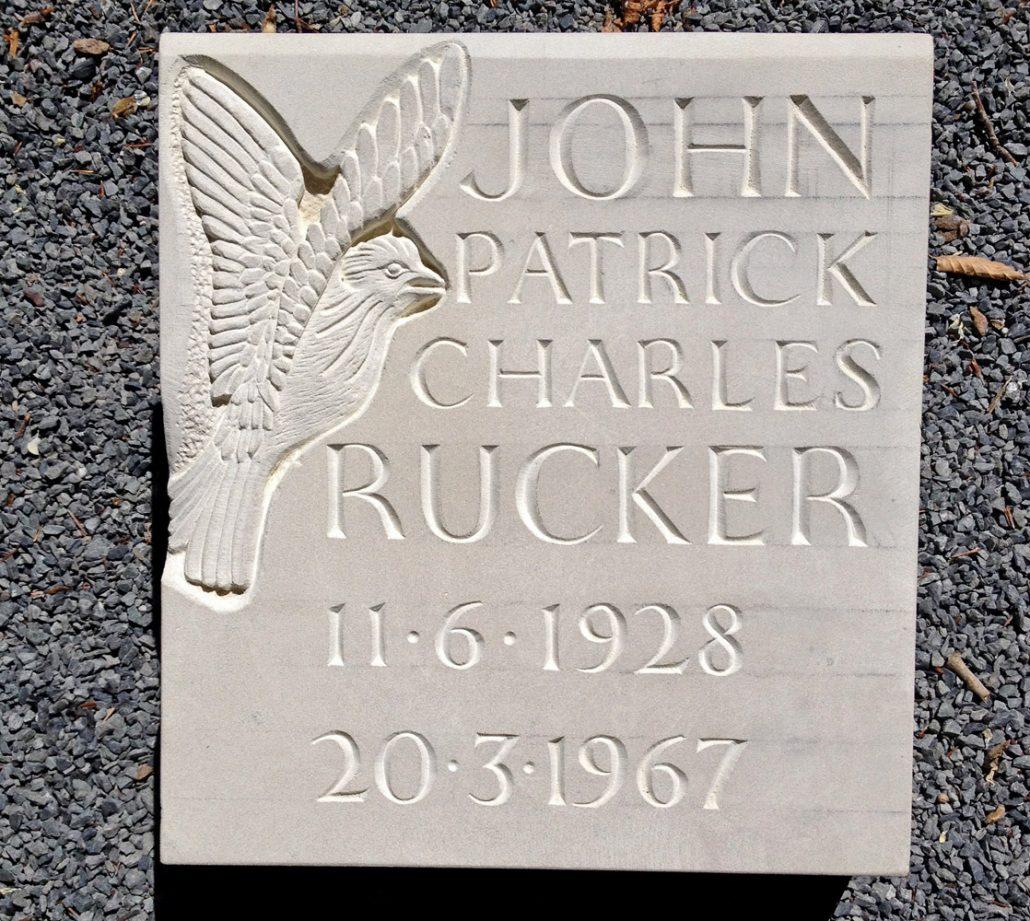 Skylark carved on Chicksgrove Stone Memorial